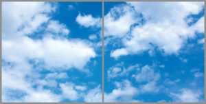 Two cloud sky panels for ceiling with bright summer blue skies and wispy clouds