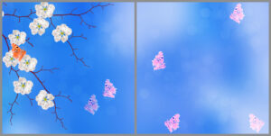 Kids 2-panel window with blue skies, twigs with white flowers and several pink and orange butterflies