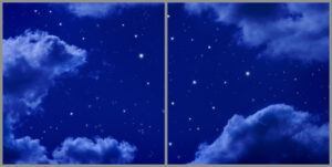 Kids 2-panel window with cloudy night sky view with twinkling stars