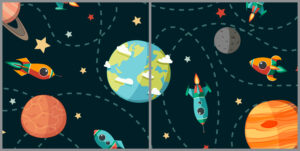 Kids 2-panel window with cartoon space images of planets and rockets