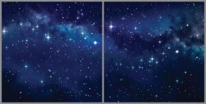 Kids 2-panel window with starry night sky view