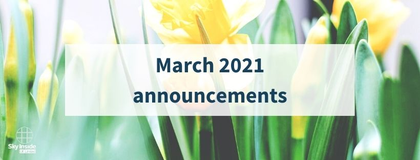 Blog banner with text 'March 2021 announcements' in front of a close up image of yellow daffodils