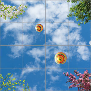 16-panel window with blue skies, white clouds, hot air balloons and various foliage and flowers
