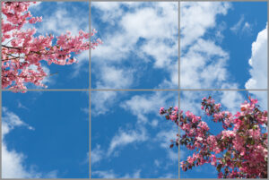 6-panel window with blue skies, white clouds and twigs with pink flowers and blossom