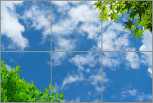 6-panel window with blue skies, white clouds and two trees with different green leaves