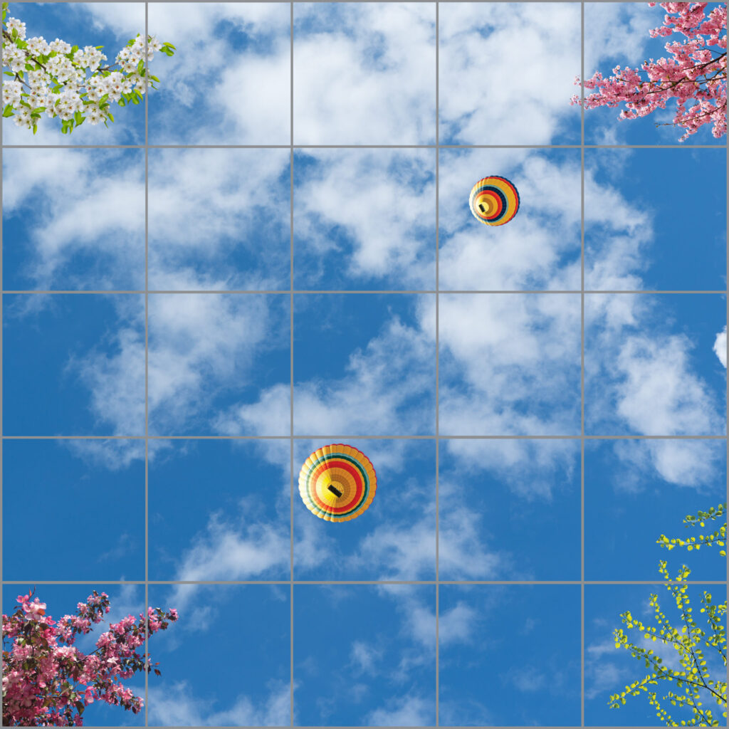 25-panel window with blue skies, white clouds, various foliage and flowers and colourful hot air balloons