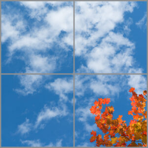 4-panel window with blue skies, white clouds and orange and red leaves