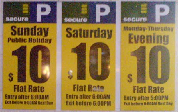 Here's something new. Secure Parking has erected these large signs. More confusion. It's almost becoming as complex as mobile phone plans. Goodness me, there are only seven days in the week. How hard can it be to find the average rate and just charge people that rate. Is it simple of me to utter such silly things? I love the silly statements of this world. They spice it up and place rockets under close-minded managers who soon find themselves on the scrap heap, only to blame some external factor. If a single soul at Secure Parking is sniggering at my suggestions, I would invite them to go down to their nearest Apple Store, such as the one in George street. Stand across the road. Stare at the store and try to imagine the sniggering at IBM if anyone had suggested one darn thing that Apple is doing, like good design, own the operating system, branch into telecommunications, sell your own products from your own store. They used to laugh their head off. Keep laughing all the way to the looney asylum.