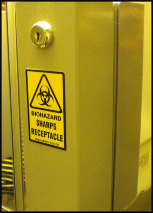 Biohazard sharps receptacle- Jonar Nader