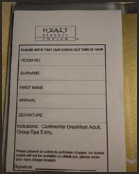 Hyatt Regency Coolum room key- Jonar Nader