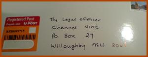 Jonar Nader letter to Channel Nine legal