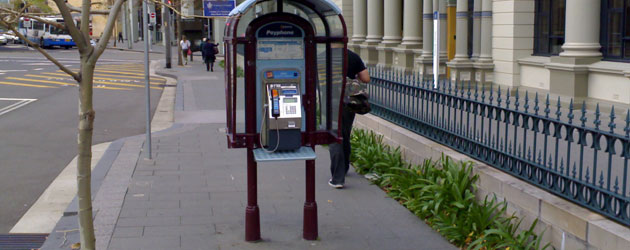 Public phone outside St Vincent's Hospital- Jonar Nader