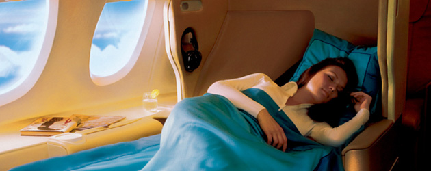 Singapore Airlines flat bed A380 promo shot