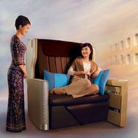 Singapore Business Class Cabin A380 seat