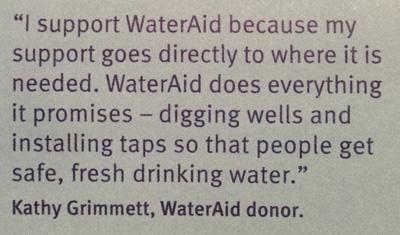 WaterAid Kathy Grimmett Donor