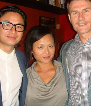 Pauline Nguyen is flanked by her bother Luke on her left, and husband Mark Jensen on the right.