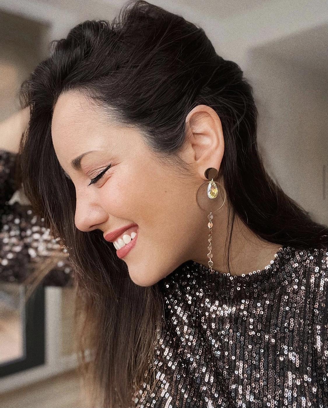 Model w Saturn Earrings