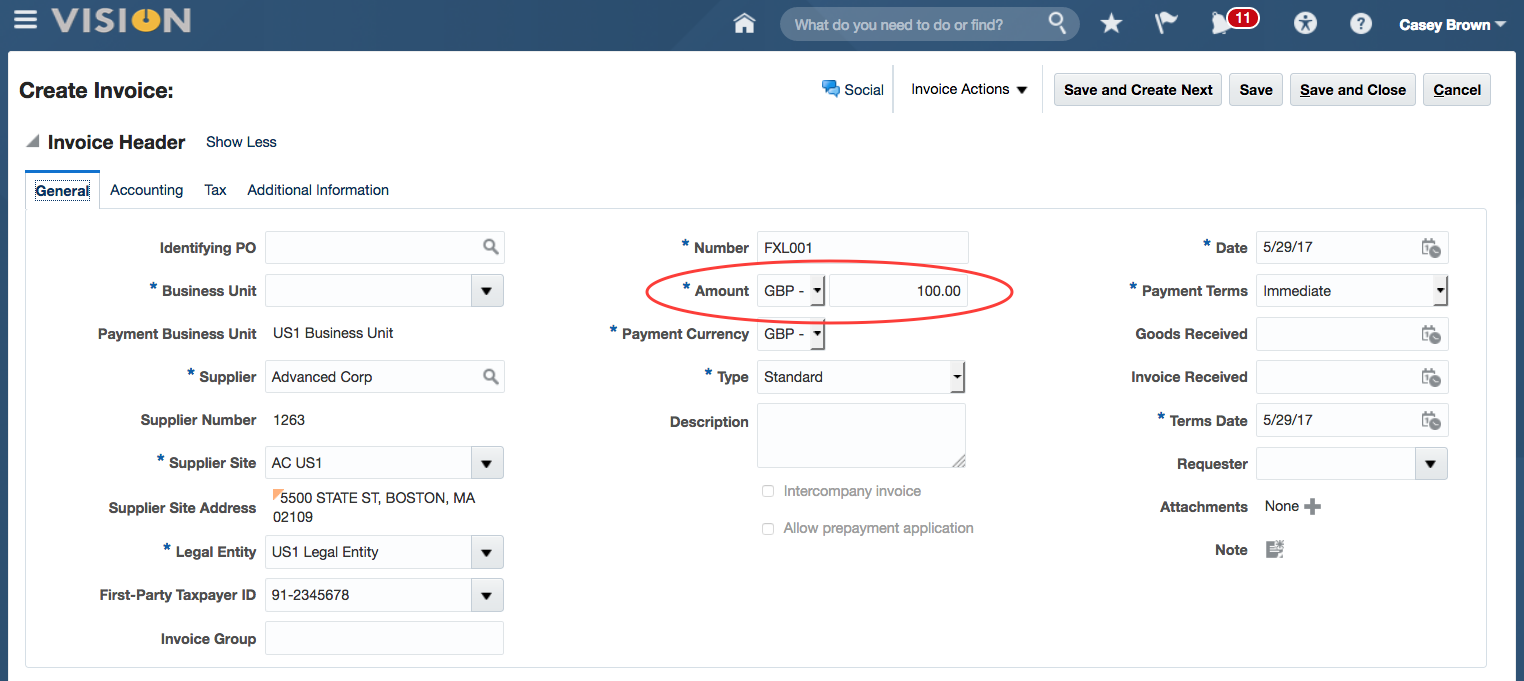 Oracle ERP Cloud Foreign Currency Invoices1