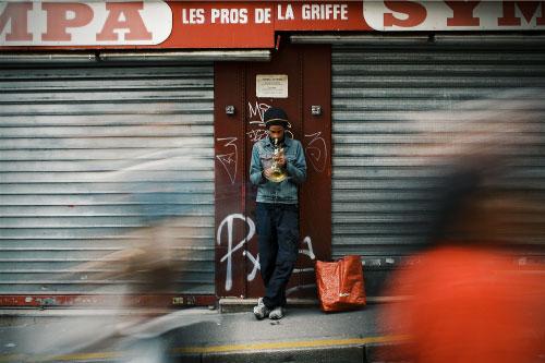 Urban trumpet player on the street