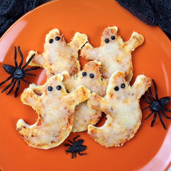 Mini Ghost Pizzas, Halloween Recipe Blog