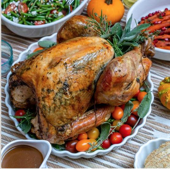 Garlic and herb roasted turkey, thanksgiving recipe blog