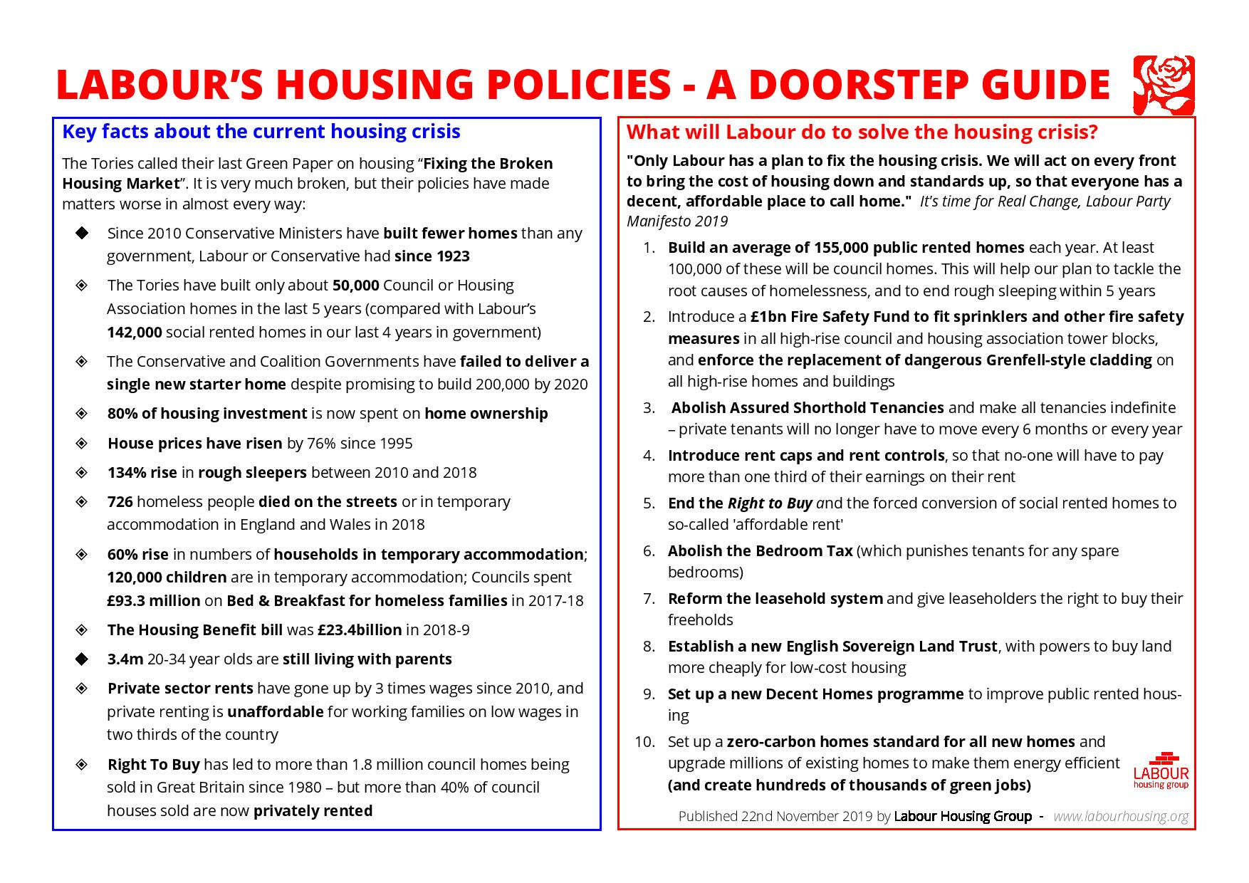 LHG Housing Policy Guide GE 2019