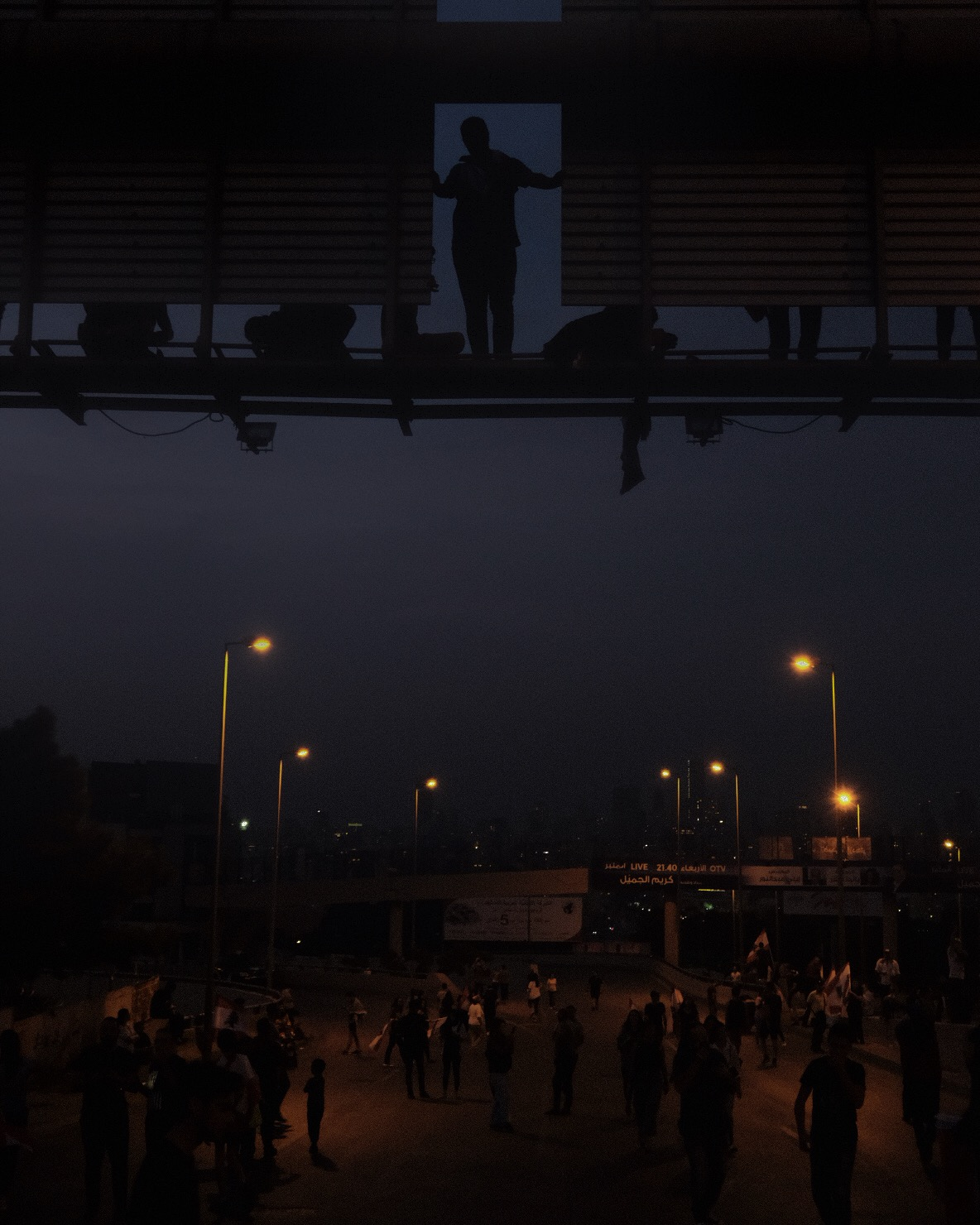 Protesters in Baabda Highway. 13 November 2019.