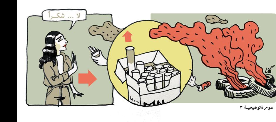 الرسم التوضيحي ٣. لا تدخّن. رسم لينة غيبة