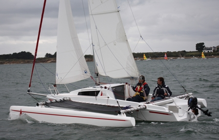 Trimarans like this Astus sail with very little heel even in strong winds