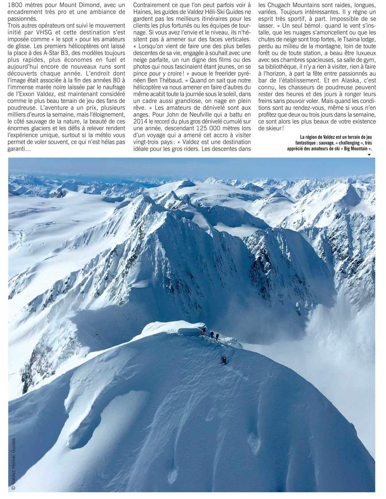 Article de presse revue spécialisée ski snowboard sports extrêmes Valdez Heli-Ski Guides Alaska
