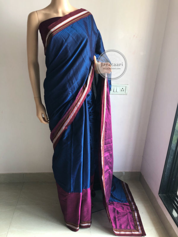 Midnight Blue Pink Khun Saree