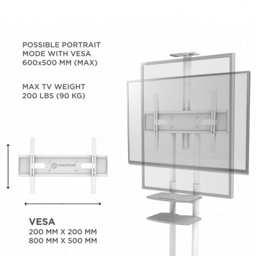 """ONKRON Mobile TV Cart for 55"""" to 80"""" Flat Screens up to 200 lbs, TS18-81 White"""