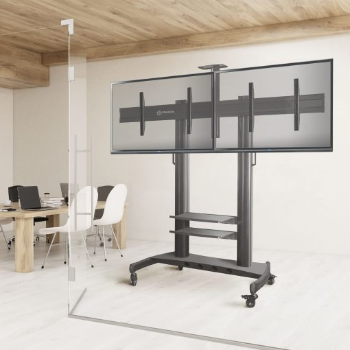 "ONKRON Mobile TV Stand Dual TV Cart with Wheels for 40"" – 60 Inch TS3811"