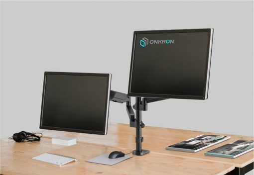 "ONKRON Dual Monitor Desk Mount Stand for 13"" -32 Inch 17.6 lbs G140 Black"