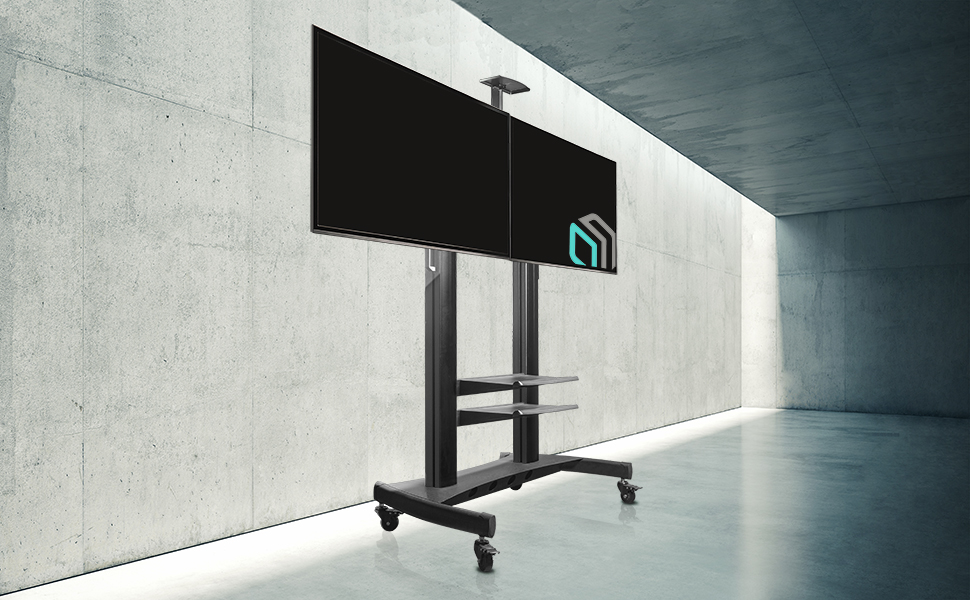 "ONKRON Mobile TV Stand Dual TV Cart with Wheels for 40"" – 60 Inch LCD LED Flat Panel TVs TS3811"
