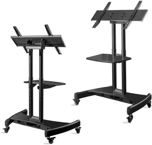 "ONKRON Tilting Mobile TV Stand for 32""-65 Inch TVs & Interactive Touch Panels TV Cart – TS1330 Black"