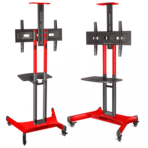 ONKRON Mobile TV Cart for 32″ to 65″ Flat Screens up to 100 lbs (45 kg) TS1551 Red