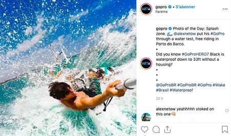 GoPro Facebook advert of man wakeboarding in the sea