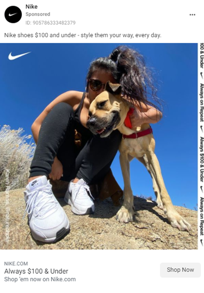Nike trainers ad, woman with dog on hill
