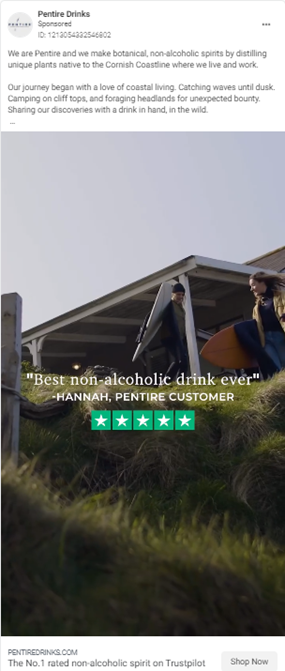 Pentire drinks ad showing camping in Cornwall with a Trustpilot review overlay