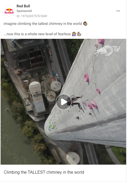 Red Bull thrillseekers advert depicting free climbers