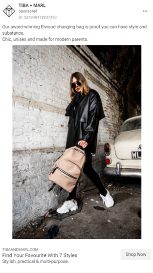 Tiba & Marl Lifestyle Ad woman holding backpack in front of car