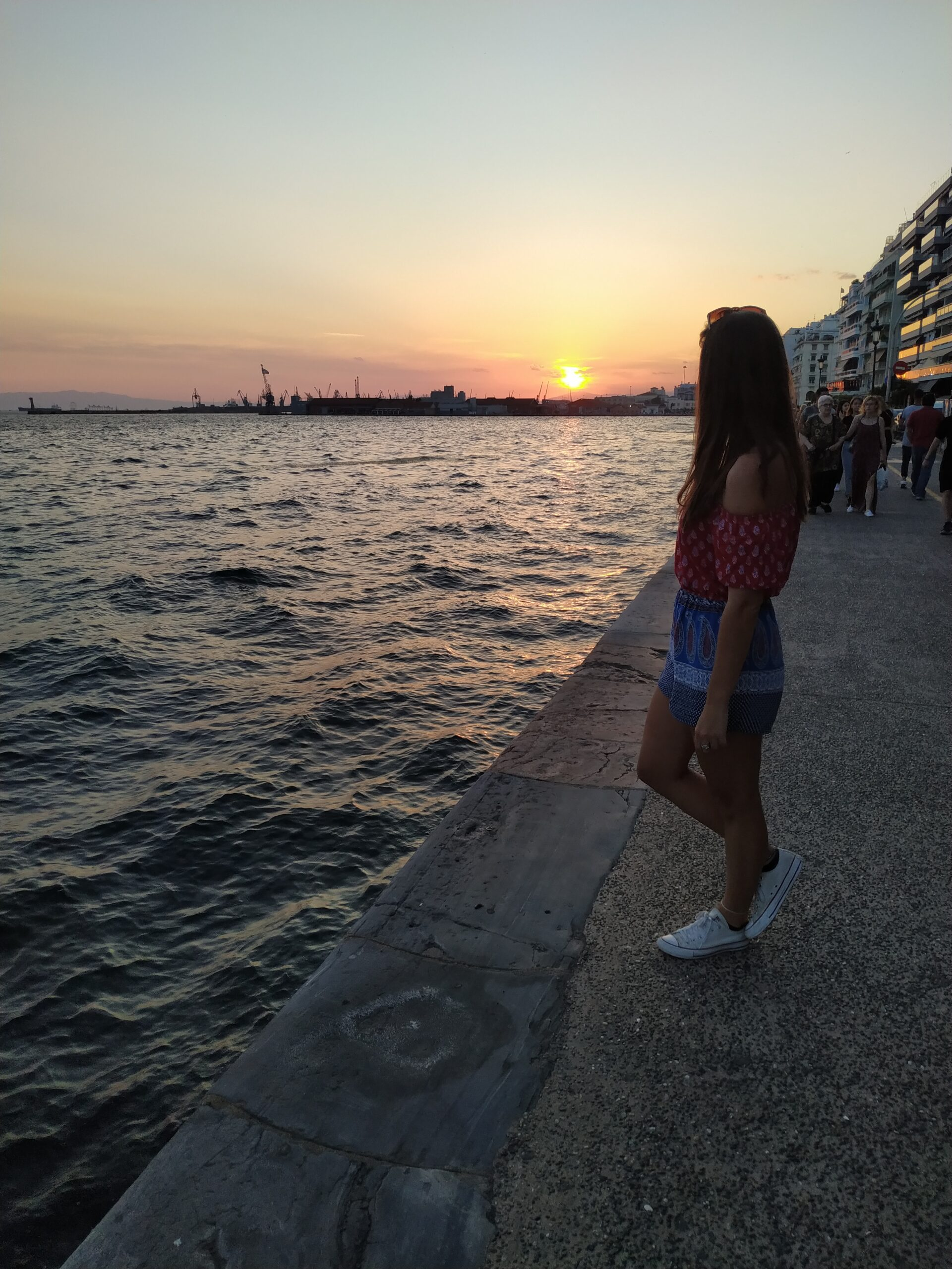 Sunset at the port of Thessaloniki