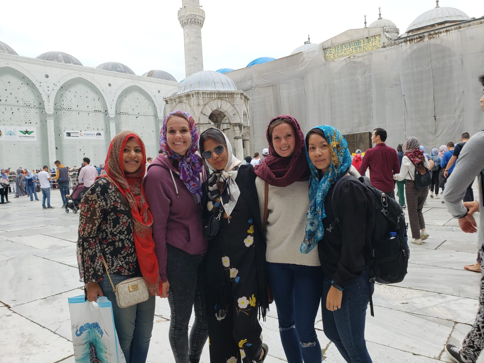 Ready to enter the Blue Mosque