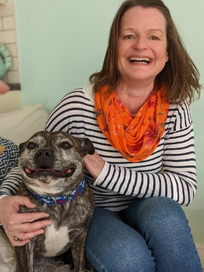 Justine Williams and RSPCA rescue dog Stanley