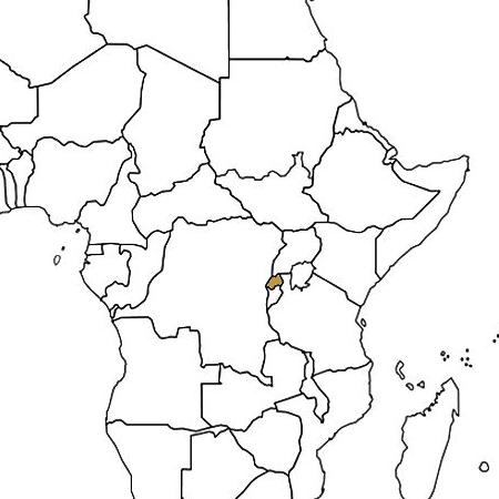 Rwanda highlighted on a map