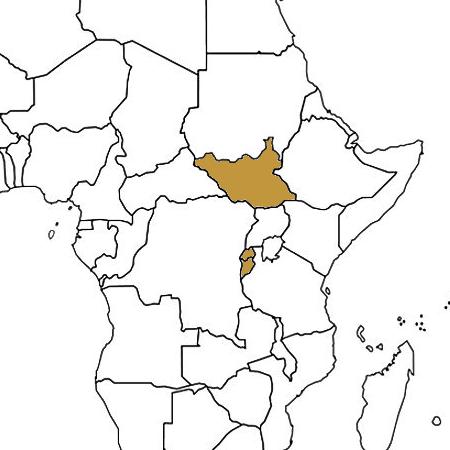 South Sudan, Rwanda and Burundi highlighted on a map
