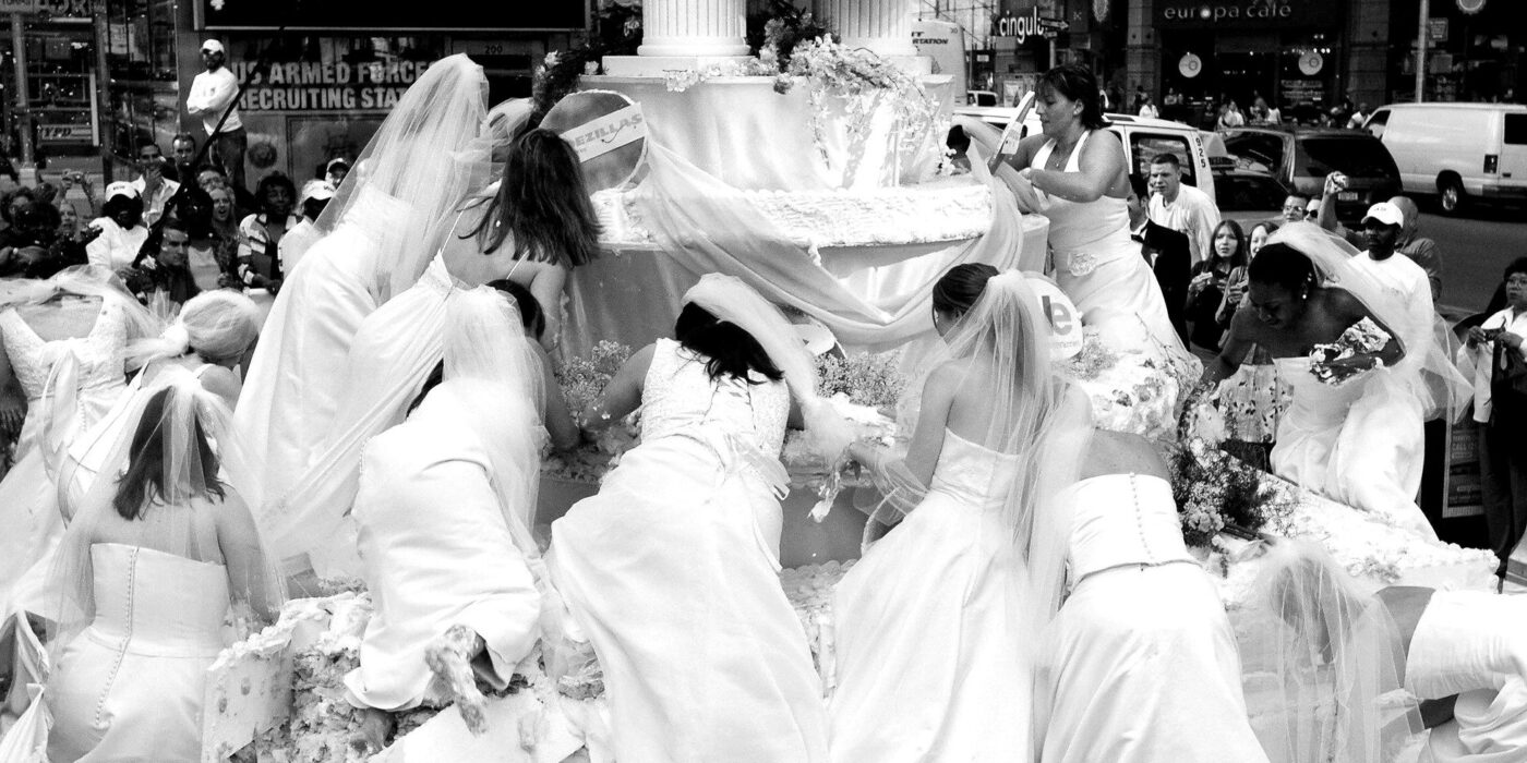 Busy wedding with brides