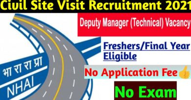 National Highways Authority of India (NHAI) Recruitment | Fresher Civil Engineers| Final Year Candidates | Apply Here