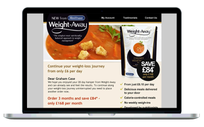 Weight-Away wireframes and purchase designs